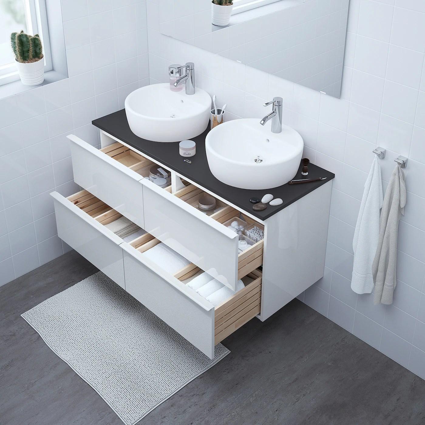 Godmorgon Meuble Pour Lavabo 4 Tiroirs Ultrabrillant Blanc 120x47x58cm Site Web Officiel Ikea