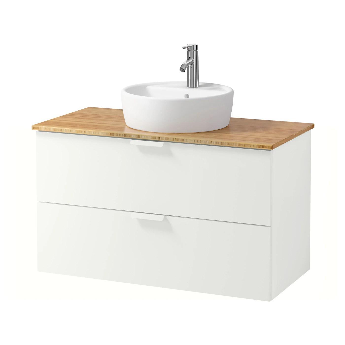 Godmorgon Tolken Tornviken Meuble Lavabo Av Vasque 45 Blanc Bambou Mitigeur Lavabo Dalskar Ikea