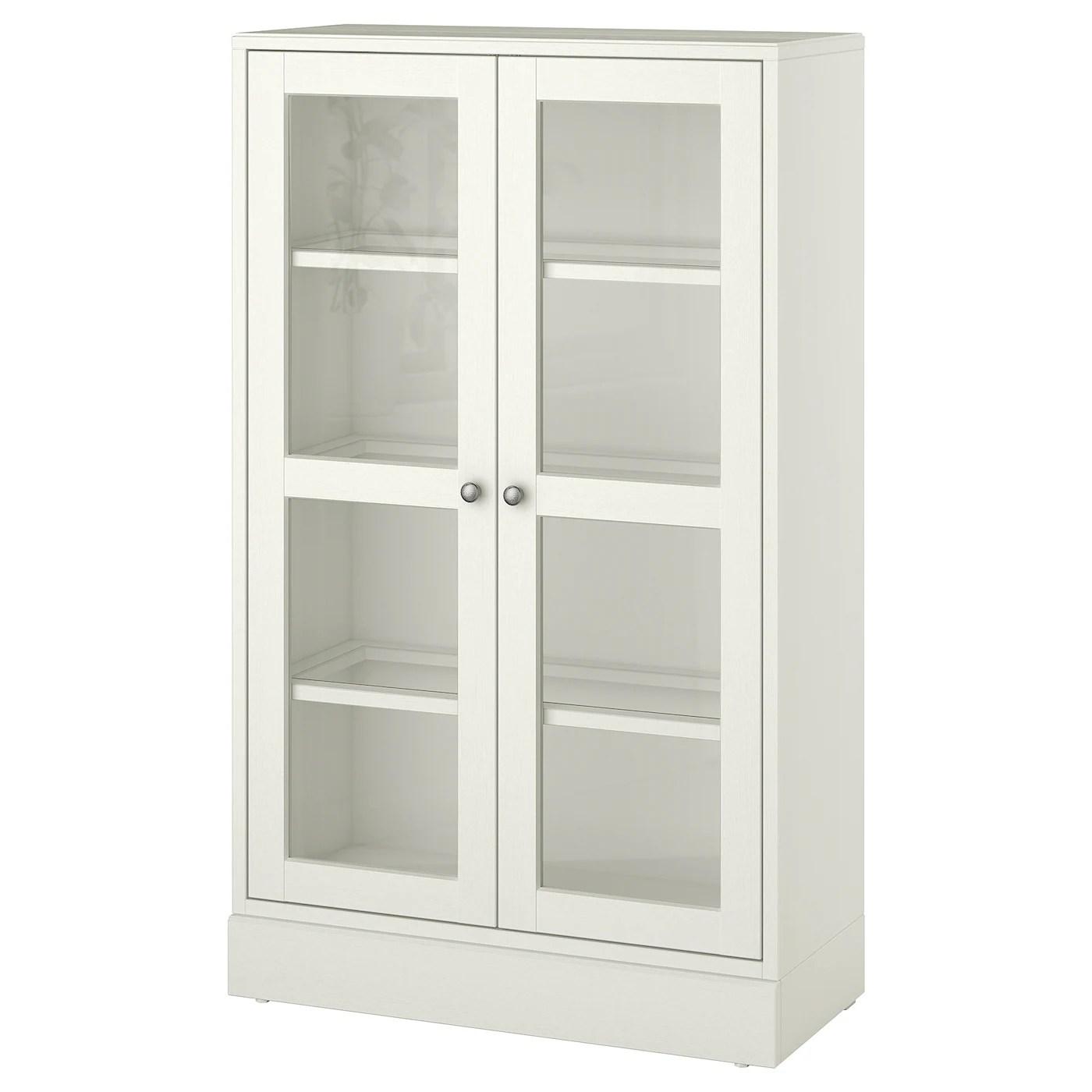 havsta armoire vitree avec plinthe verre transparent blanc 31 7 8x14 5 8x52 3 4 81x37x134 cm