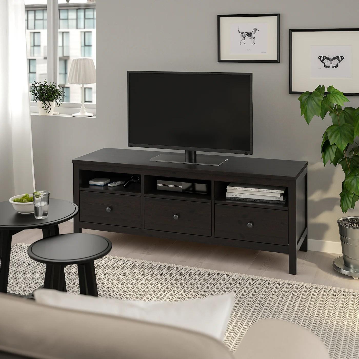 hemnes meuble tele brun noir 58 1 4x18 1 2x22 1 2 148x47x57 cm