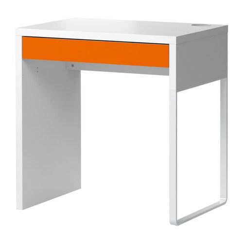 "MICKE Bureau, blanc, orange Largeur: 28 3/4 "" Profondeur: 19 5/8 "" Hauteur: 29 1/2 ""  Largeur: 73 cm Profondeur: 50 cm Hauteur: 75 cm"