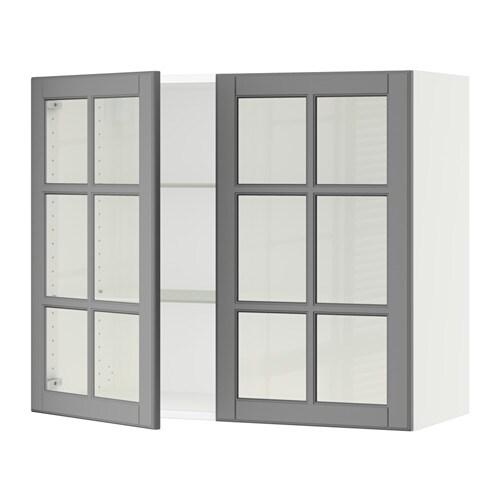 sektion armoire murale 2 portes vitrees blanc bodbyn gris 36x15x30 ikea