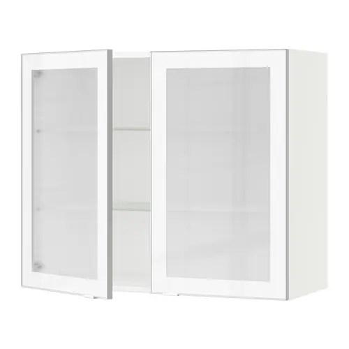 sektion armoire murale 2 portes vitrees blanc jutis verre depoli aluminium 36x15x30 ikea