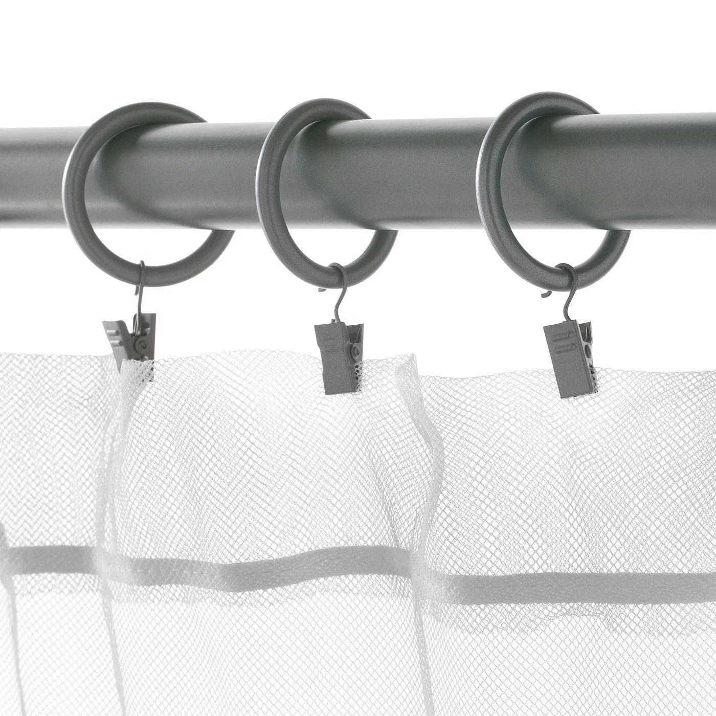 syrlig anneau rideau pince crochet gris argent 1 1 2 38 mm