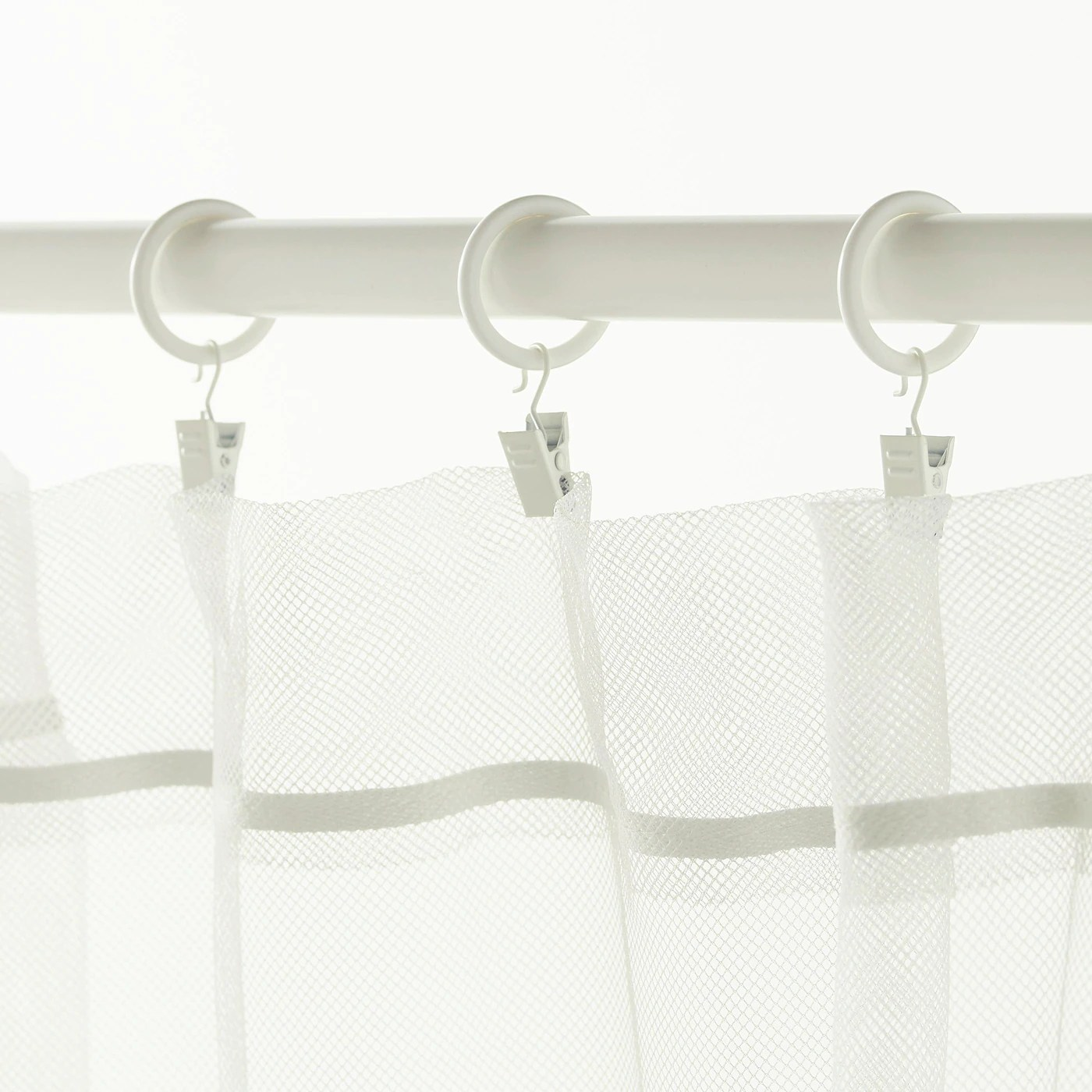 syrlig curtain ring with clip and hook white 25 mm