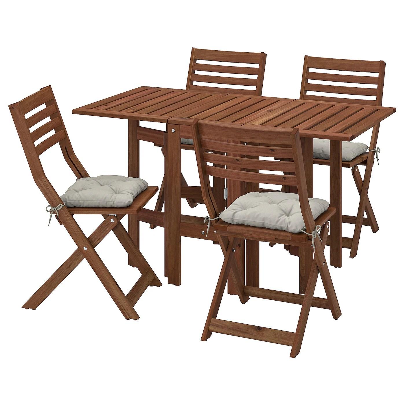 applaro table 4 chaises pliantes exterieur teinte brun kuddarna gris