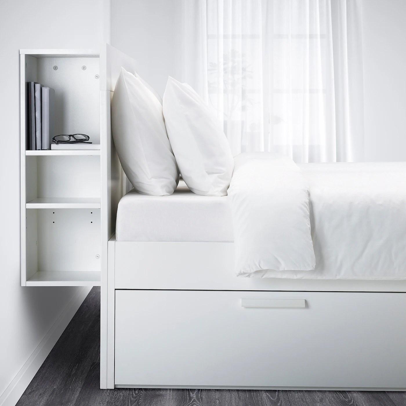 brimnes cadre de lit rangement tete de lit blanc 160x200 cm