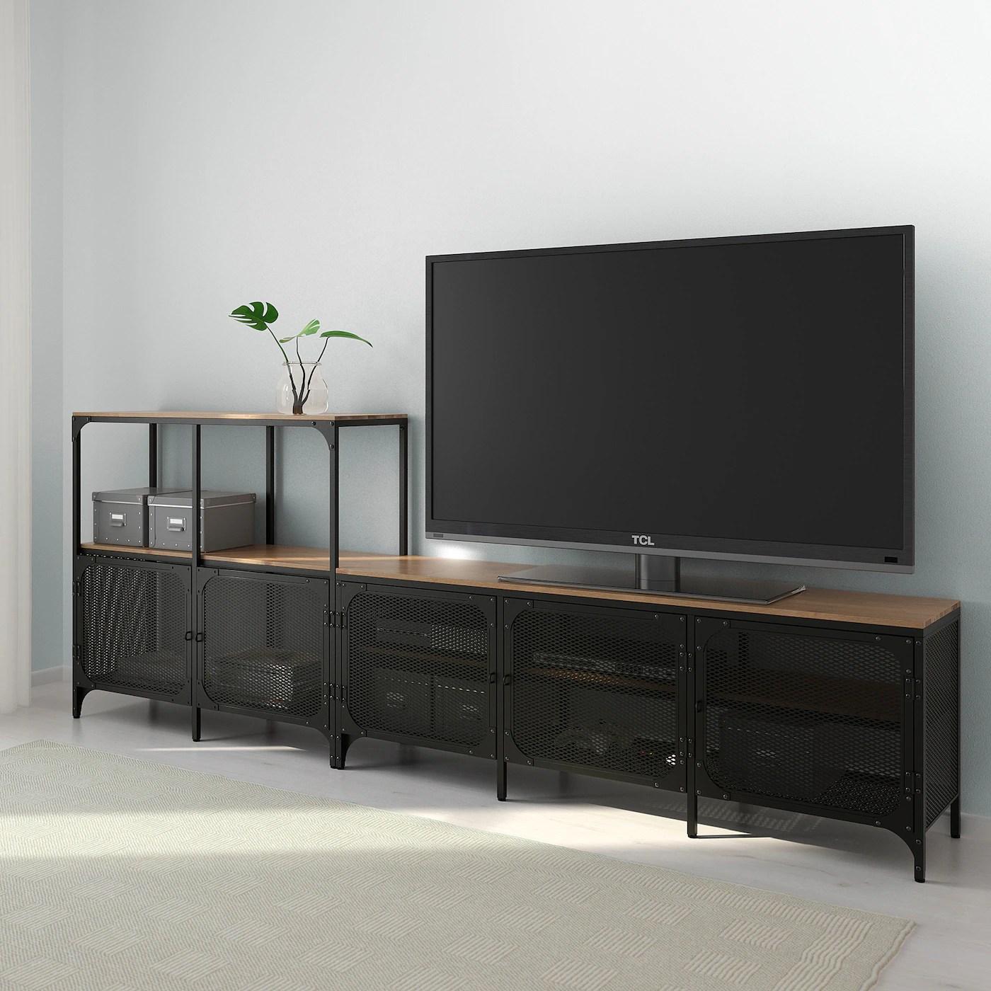 fjallbo combinaison meuble tv noir 250x36x95 cm