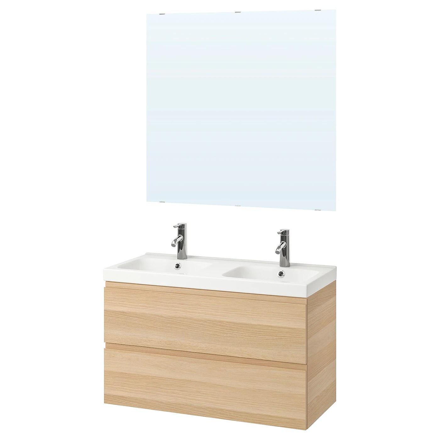 Godmorgon Odensvik Mobilier Salle De Bain 5 Pieces Effet Chene Blanchi Dalskar Mitigeur Lavabo Ikea Suisse