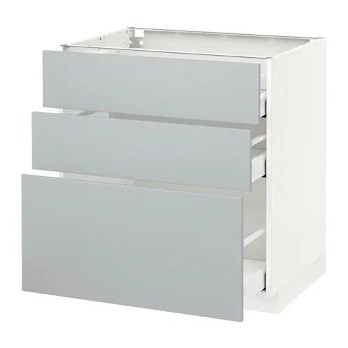 METOD Unterschrank mit 3 Schubladen  wei Veddinge grau