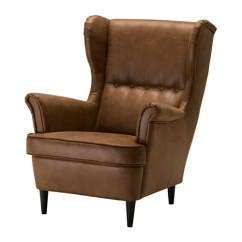 Black Leather Wingback Chair Anti Gravity Outdoor Lounge Chairs Strandmon Ohrensessel - Ikea