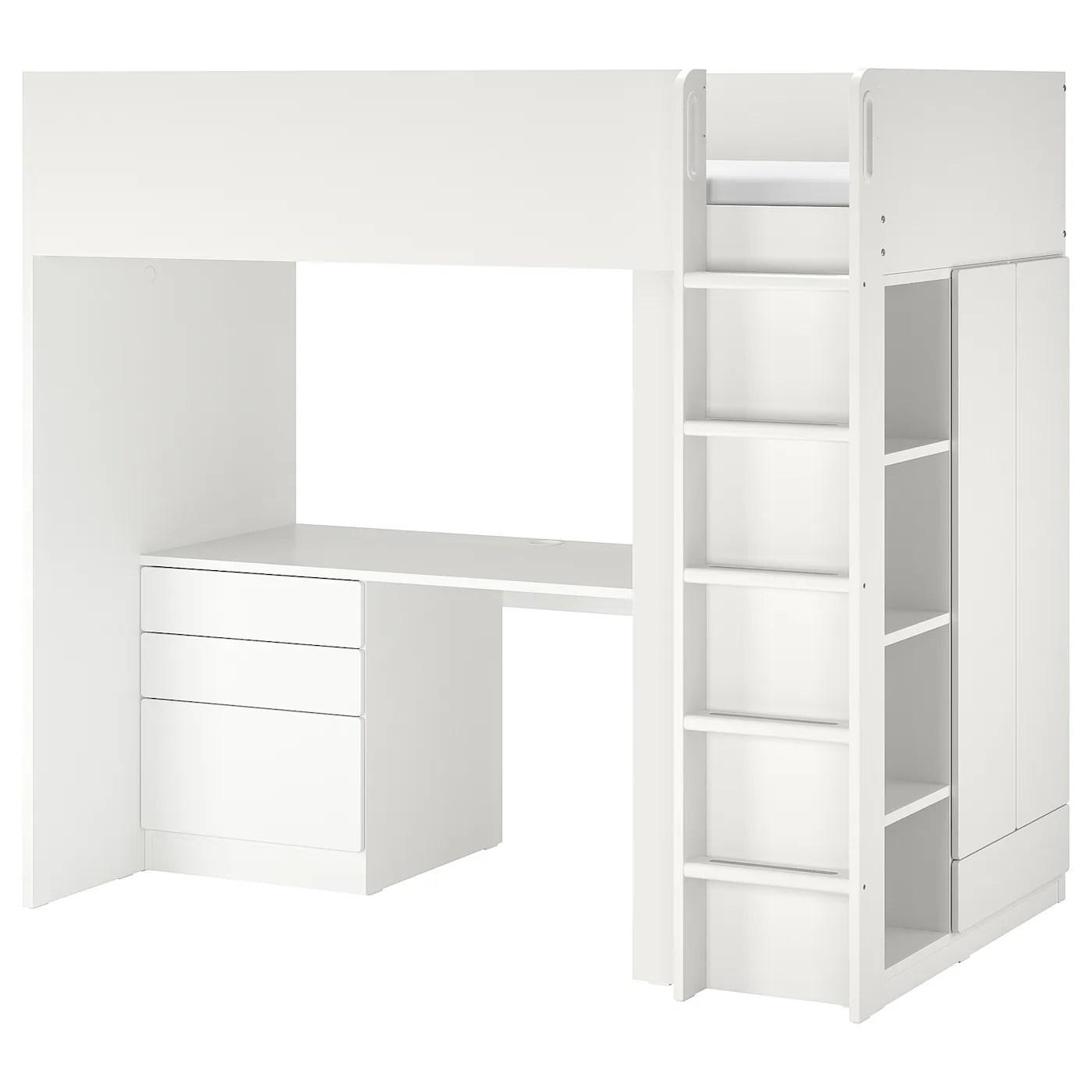 Smastad Hojseng Hvid Hvid Med Skrivebord Med 4 Skuffer Ikea
