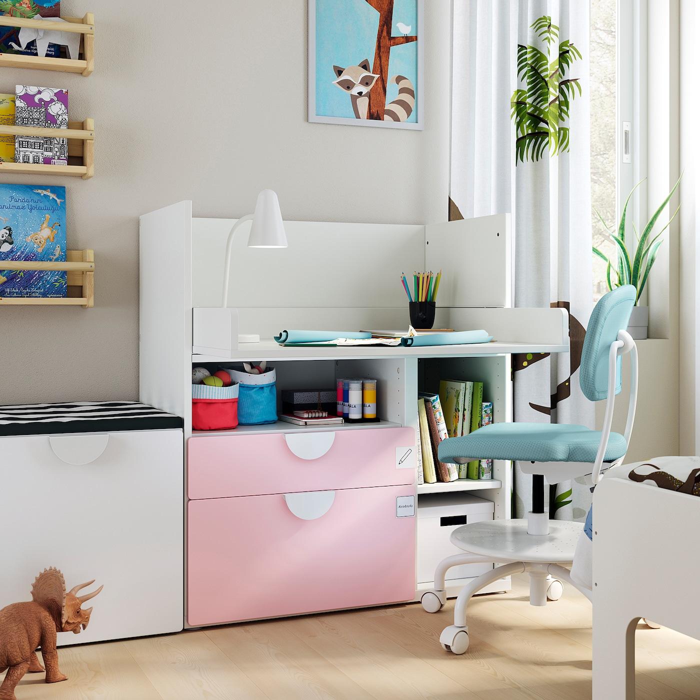 Smastad Skrivebord Hvid Lys Pink Med 2 Skuffer Ikea