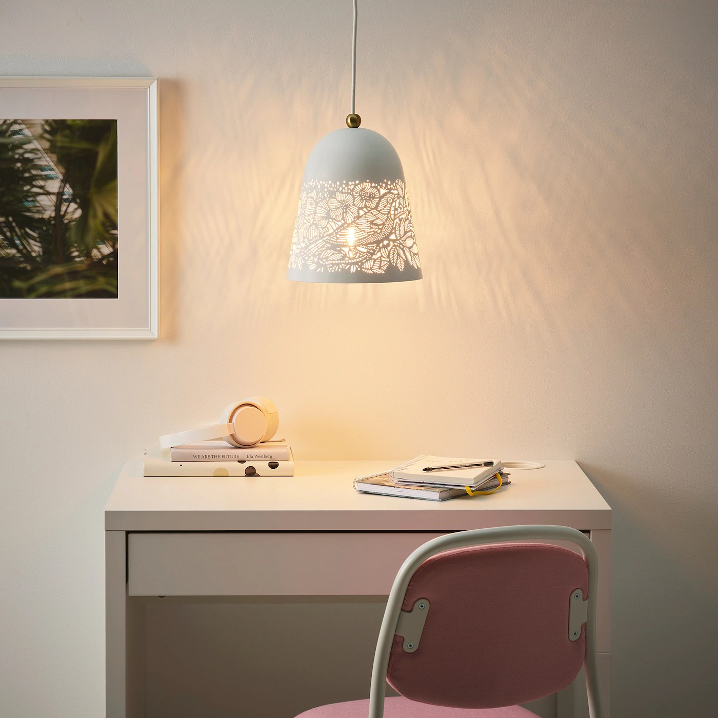 Solskur Loftlampe Hvid Messingfarvet Ikea