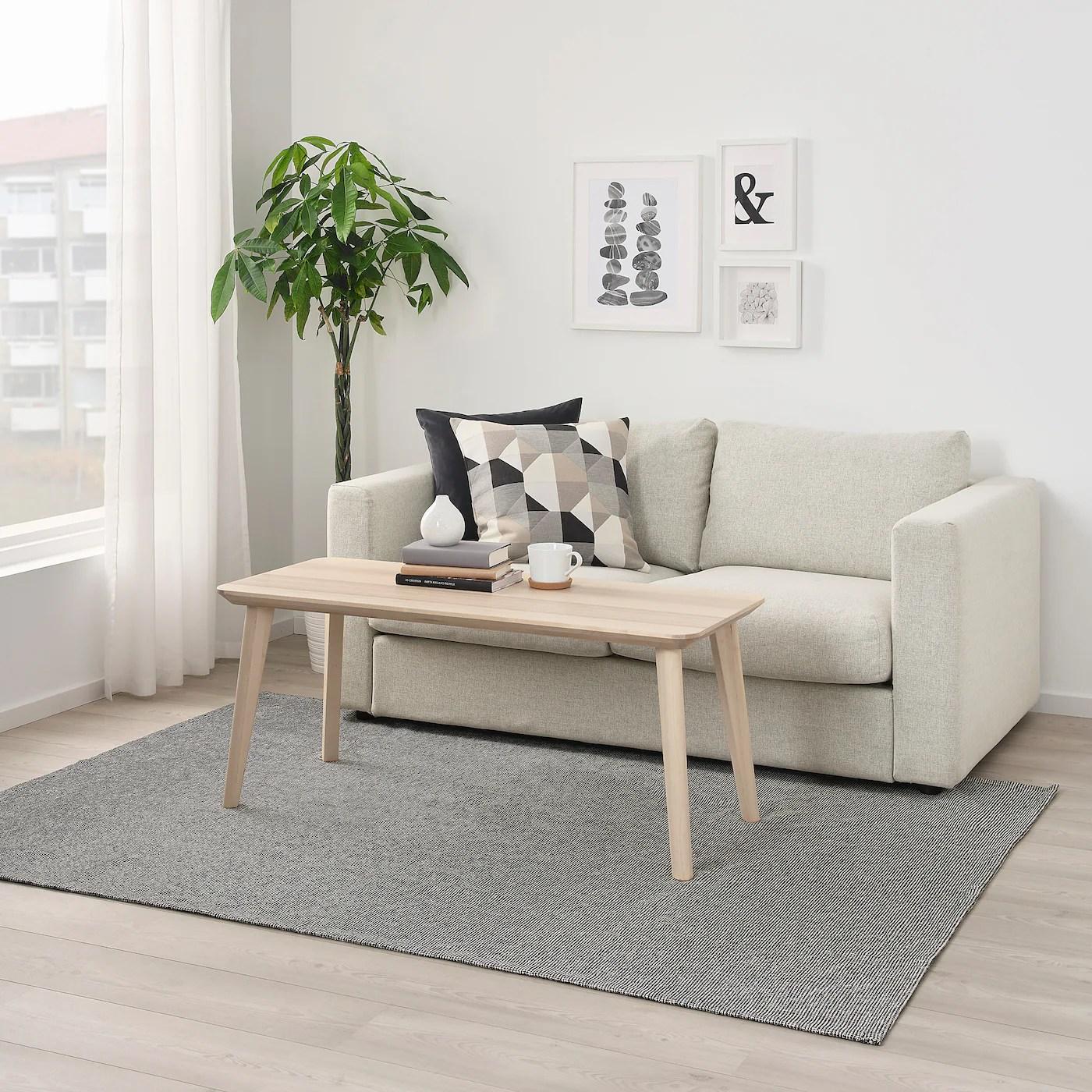 Tiphede Taeppe Fladvaevet Gra Hvid 155x220 Cm Ikea