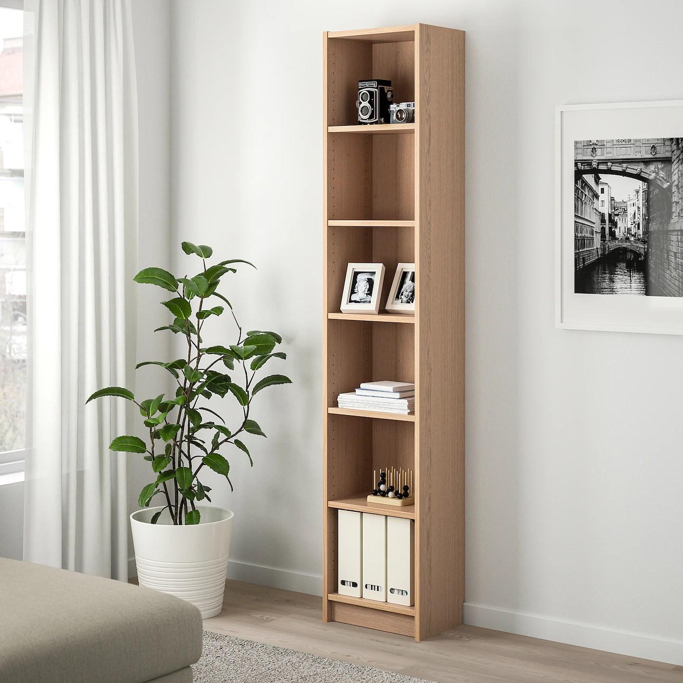 BILLY Bookcase, white stained oak veneer, 40x28x202 cm   IKEA