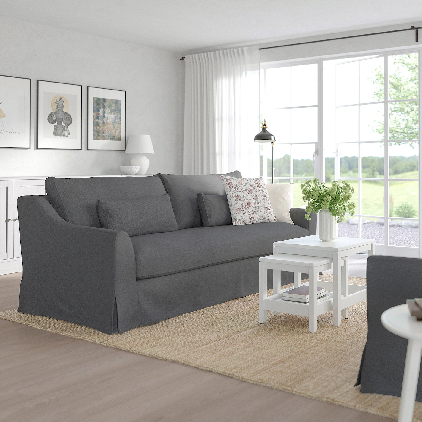 Before the tv was removed i tried out the stocksund furniture from ikea. FÄRLÖV 3-seat sofa - Flodafors grey - IKEA