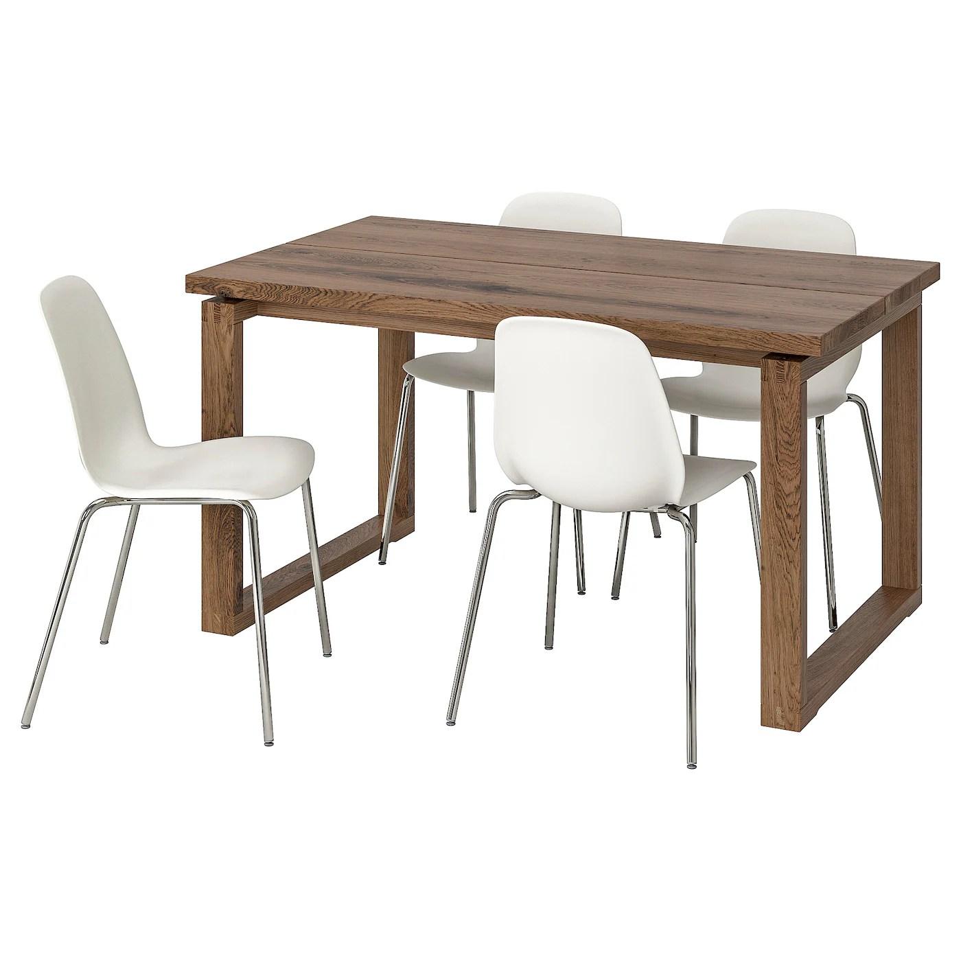 morbylanga leifarne table and 4 chairs brown white 140x85 cm