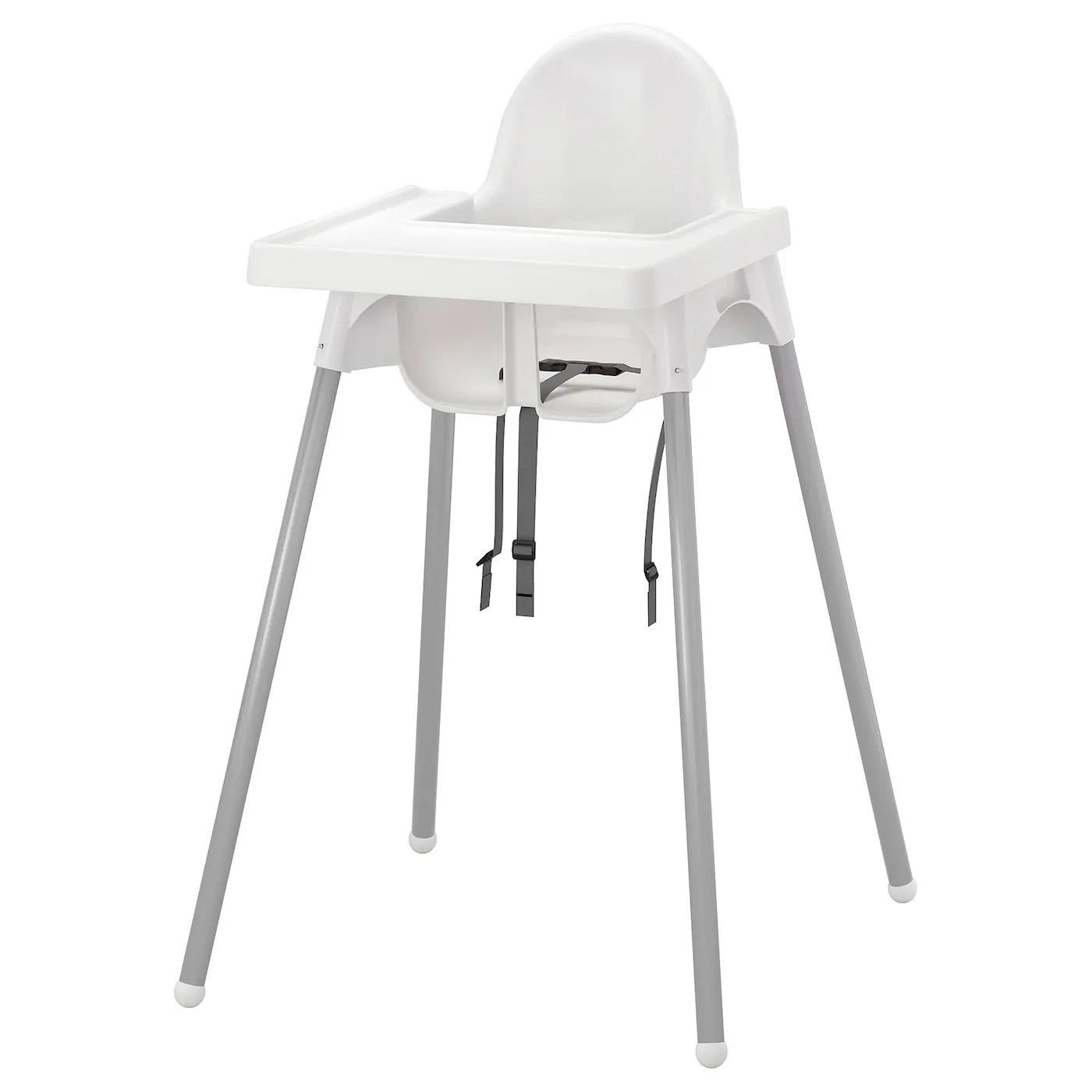 antilop structure chaise haute tablette blanc couleur argent