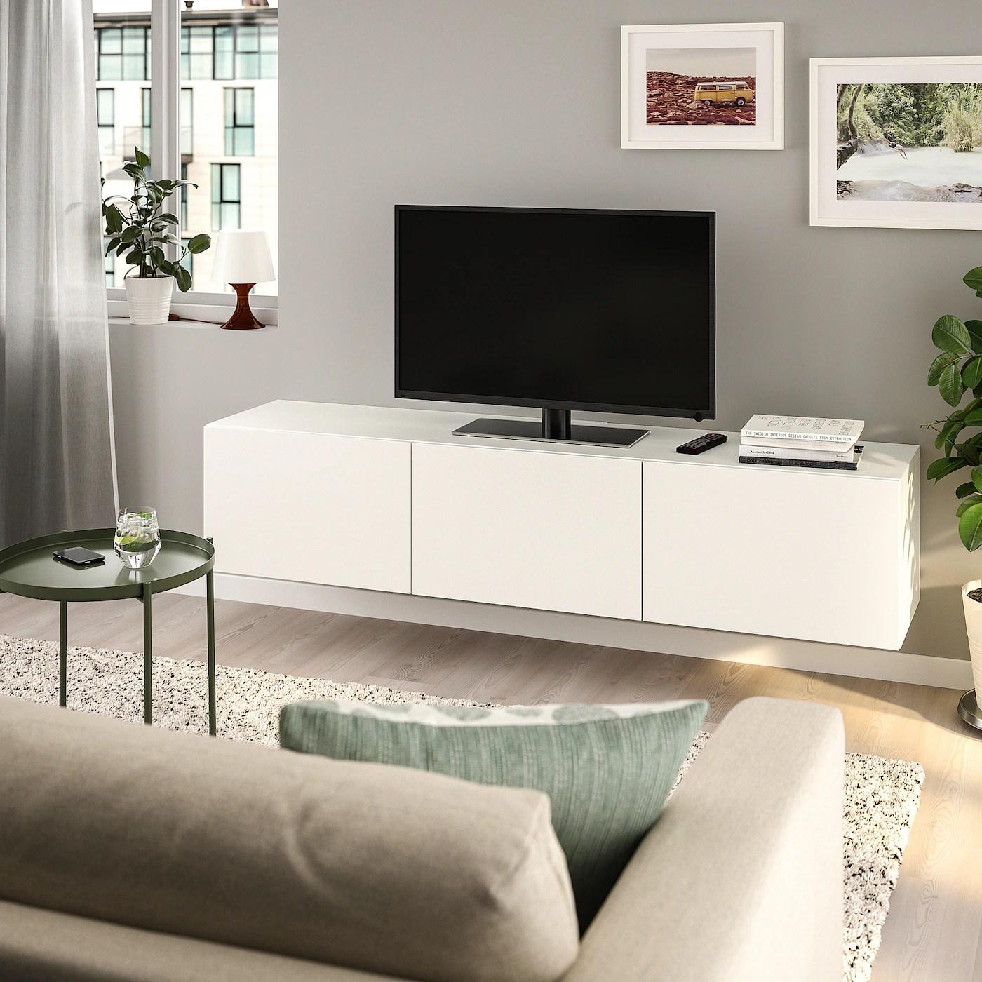 besta banc tv avec portes blanc lappviken blanc 180x42x38 cm