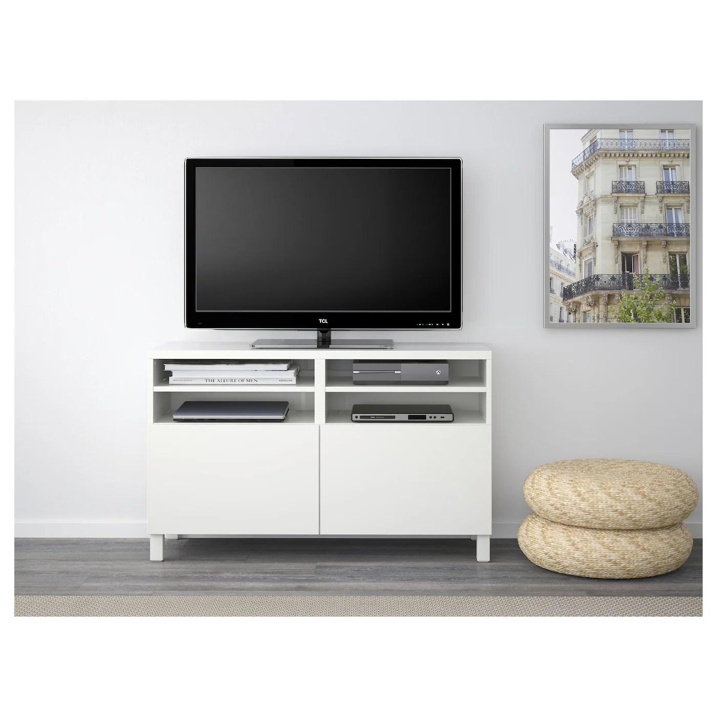 besta banc tv avec portes blanc lappviken stubbarp blanc 120x42x74 cm