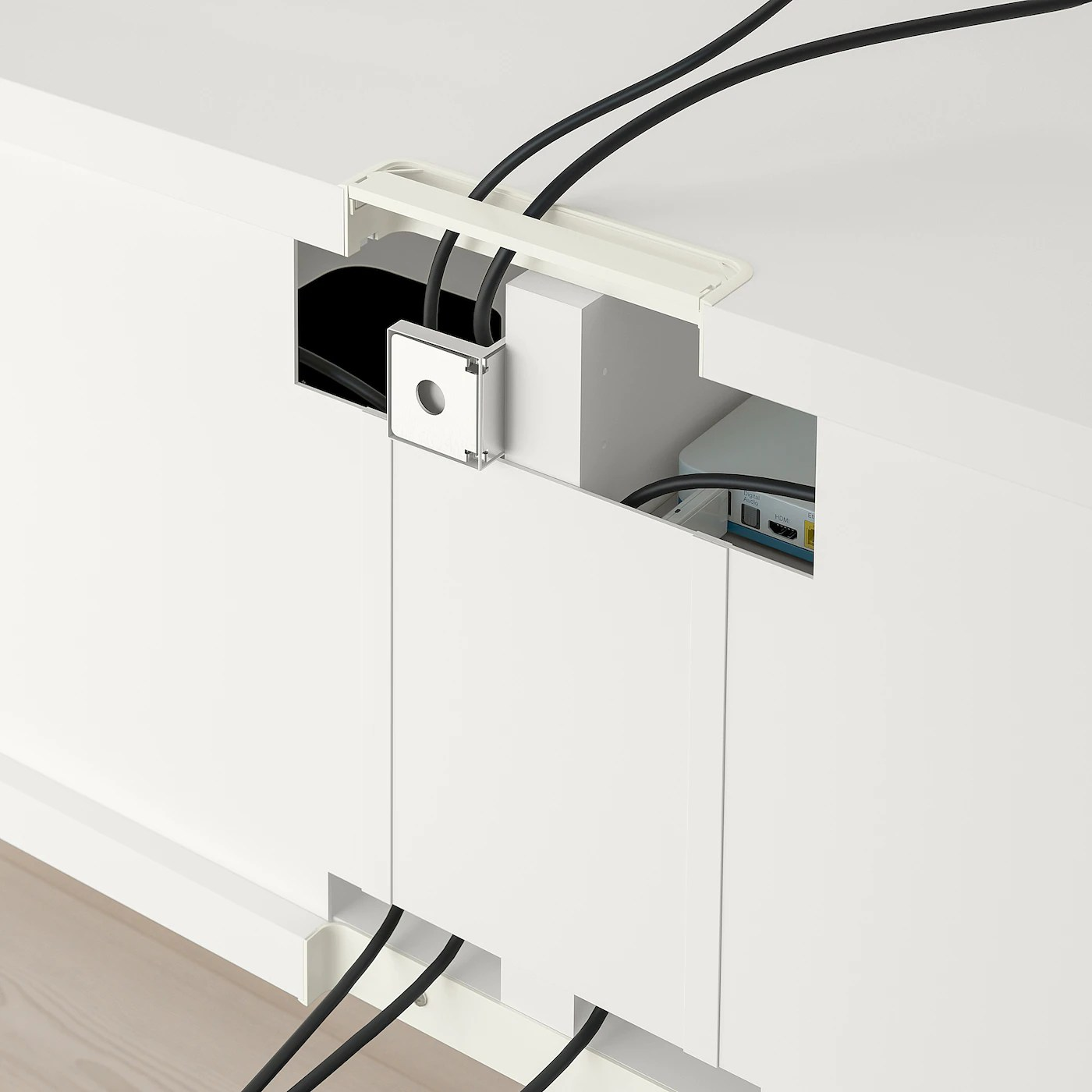 besta banc tv avec tiroirs blanc selsviken brillant blanc 120x42x39 cm