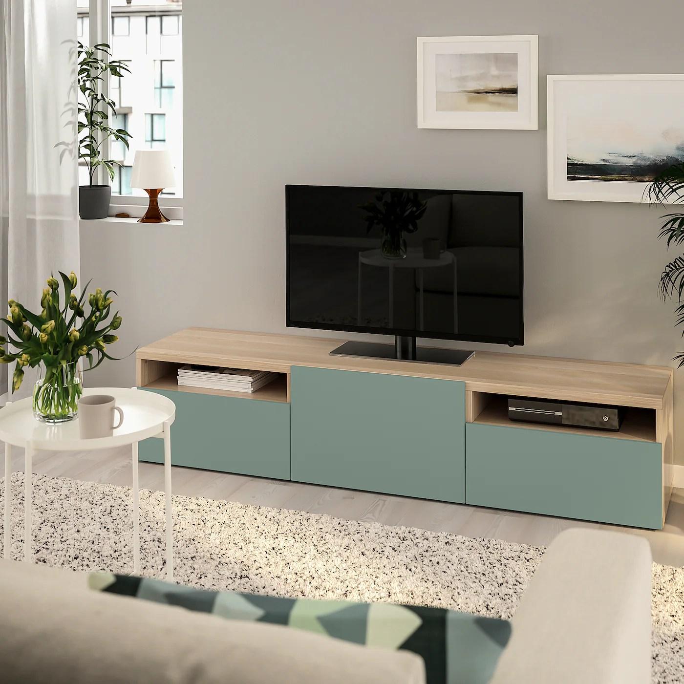 besta banc tv effet chene blanchi notviken gris vert 180x42x39 cm
