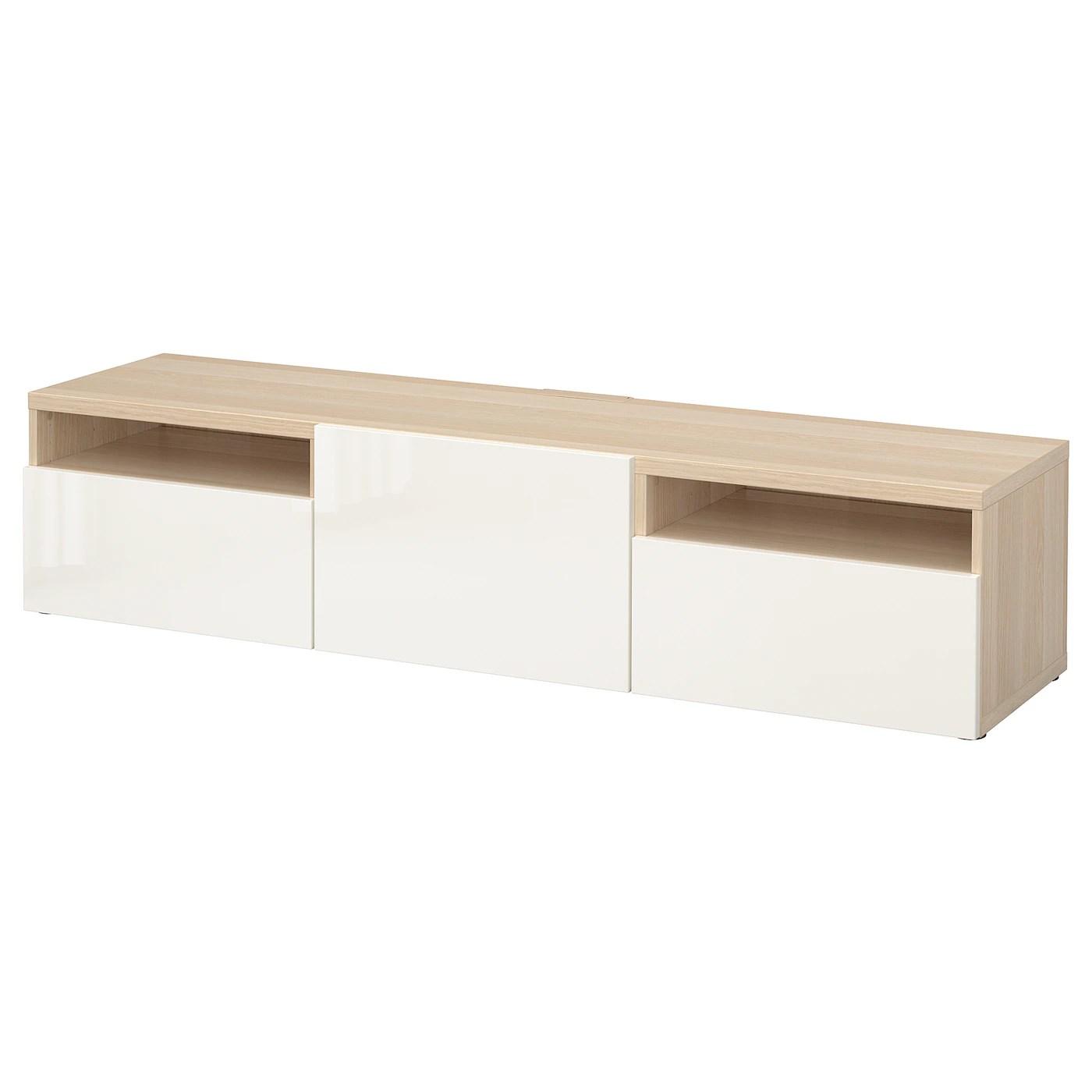 besta banc tv effet chene blanchi selsviken brillant blanc 180x42x39 cm