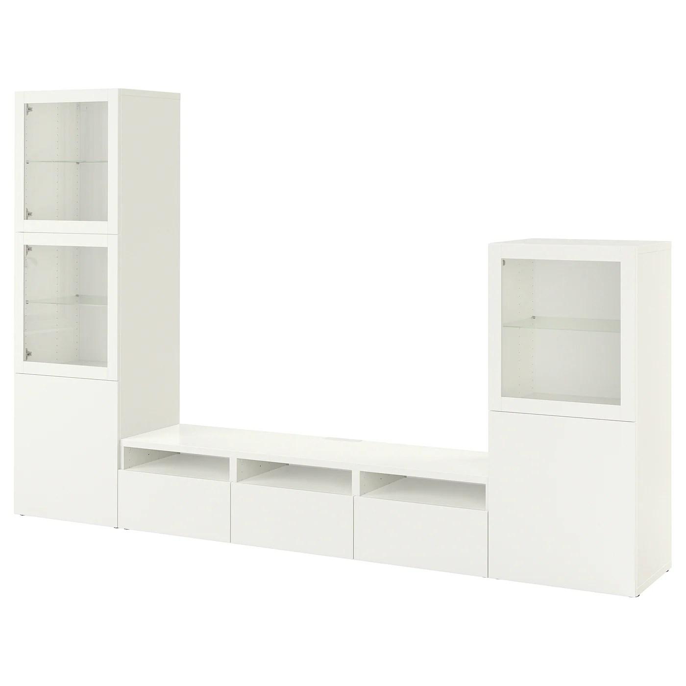 besta rangement tv vitrines blanc lappviken blanc verre transparent 300x42x193 cm