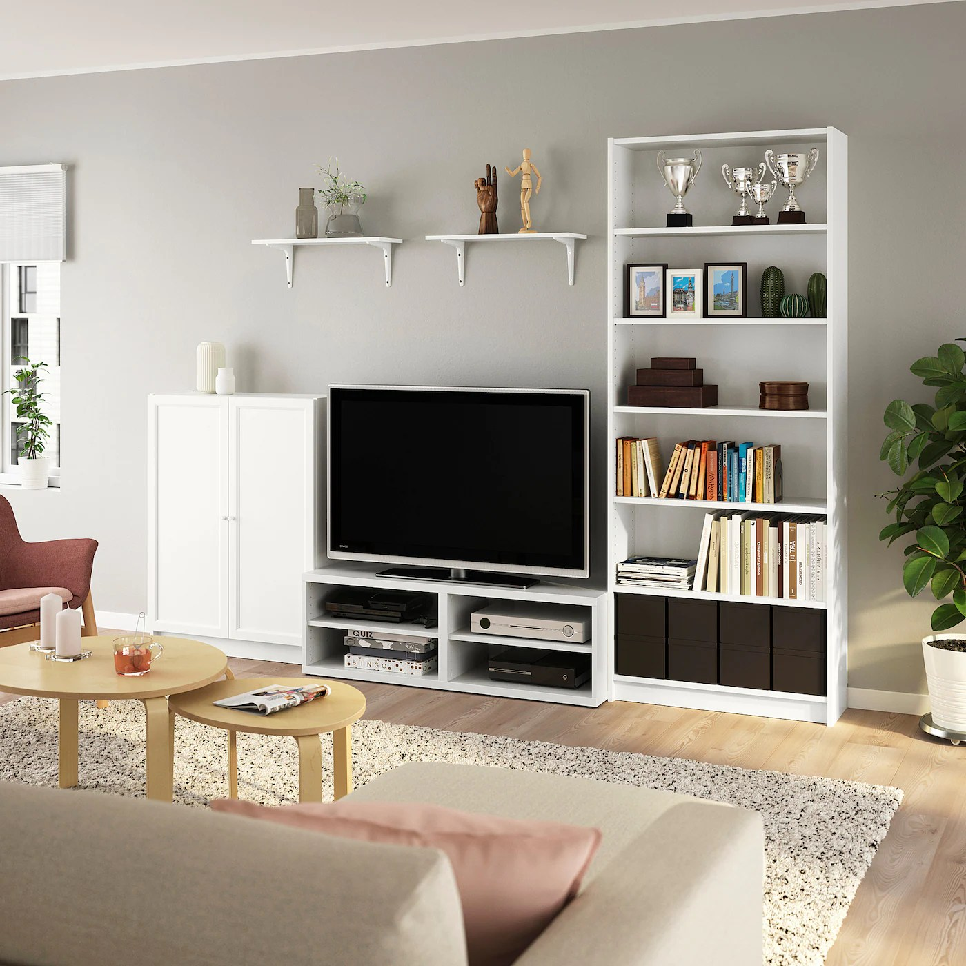 billy besta combinaison meuble tv blanc 280x40x202 cm