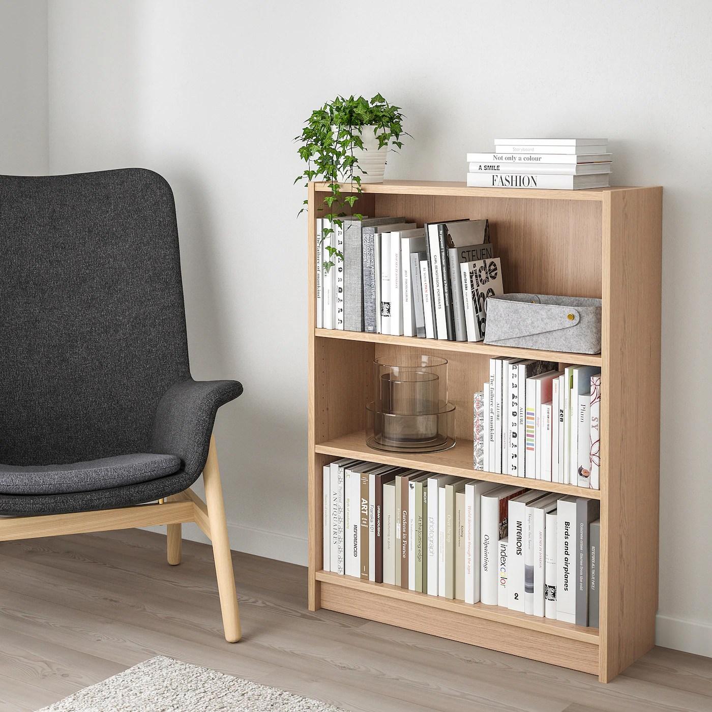 billy bibliotheque plaque chene blanchi 80x28x106 cm