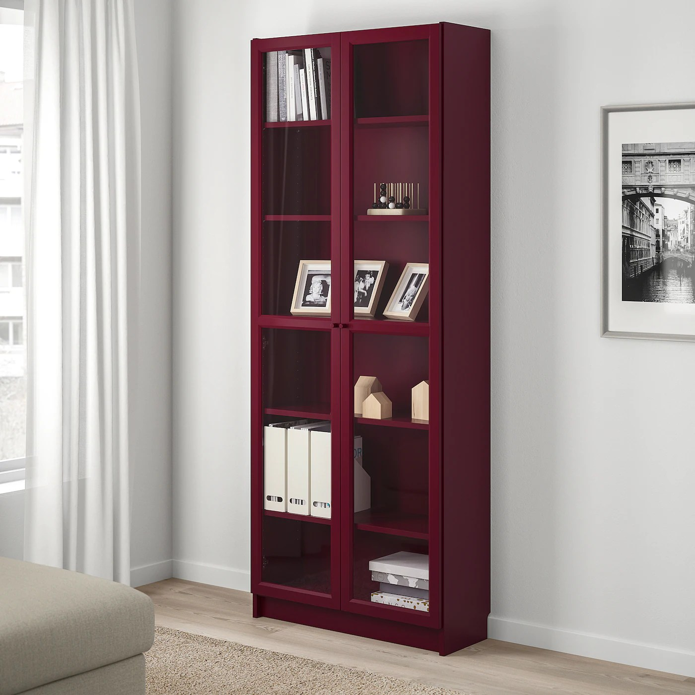 billy bibliotheque vitree rouge fonce 80x30x202 cm