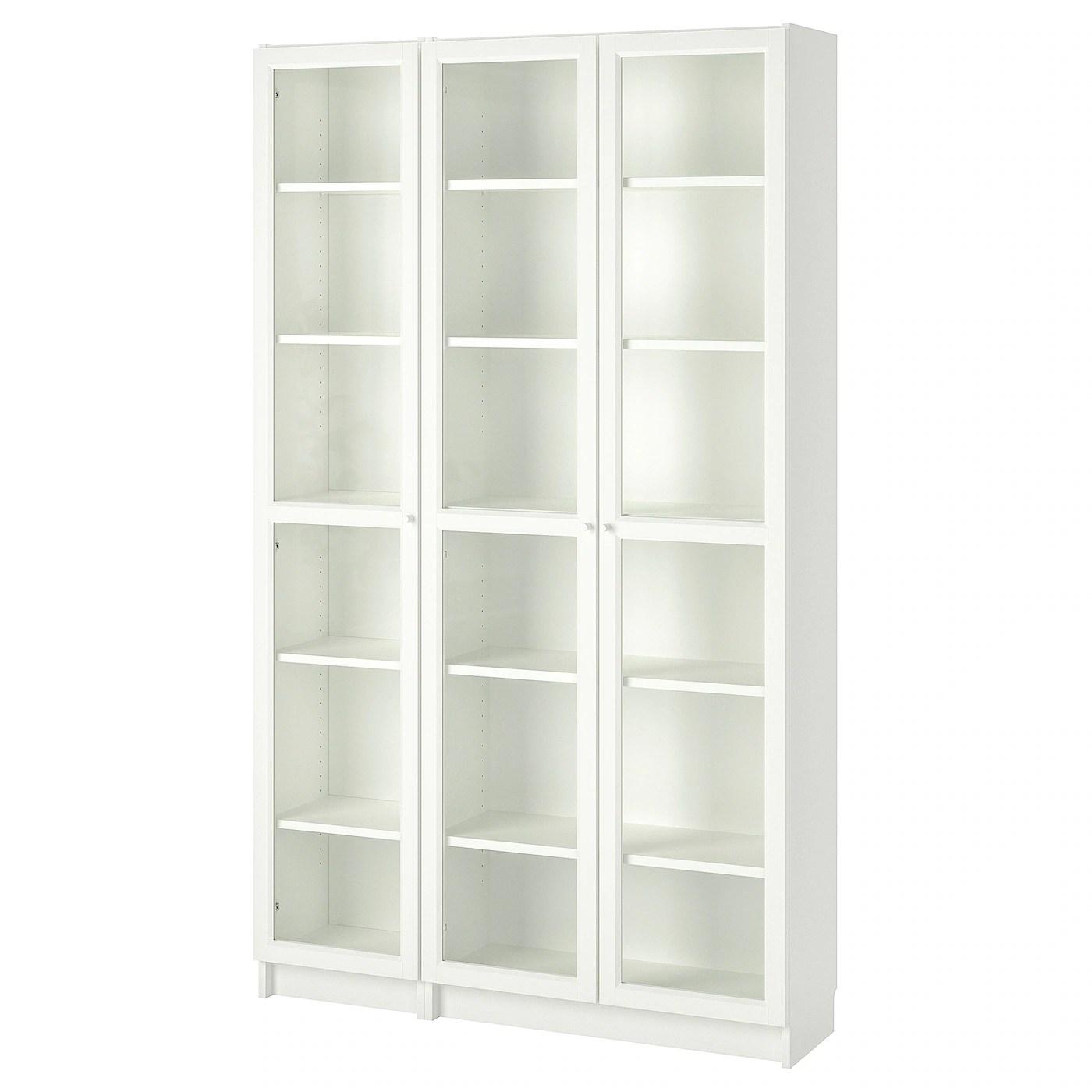 billy oxberg bibliotheque vitree blanc 120x30x202 cm