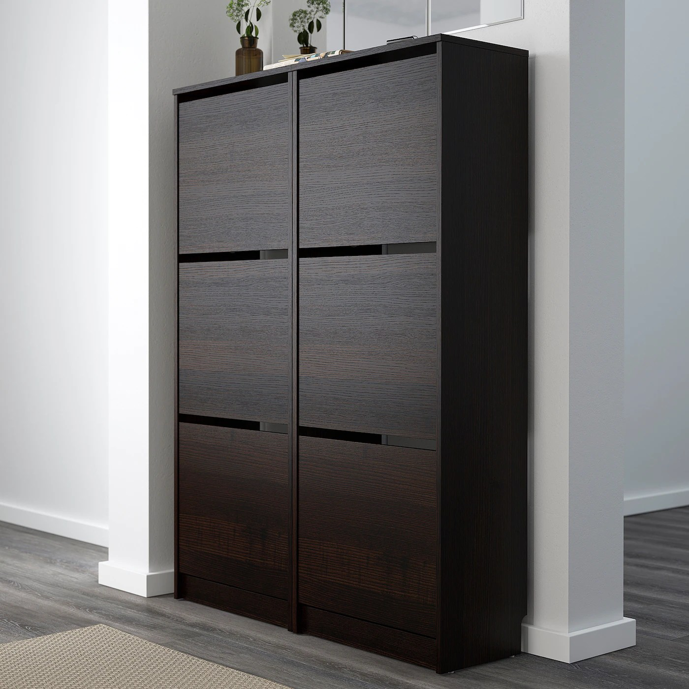 bissa armoire a chaussures 3 casiers noir brun 49x135 cm