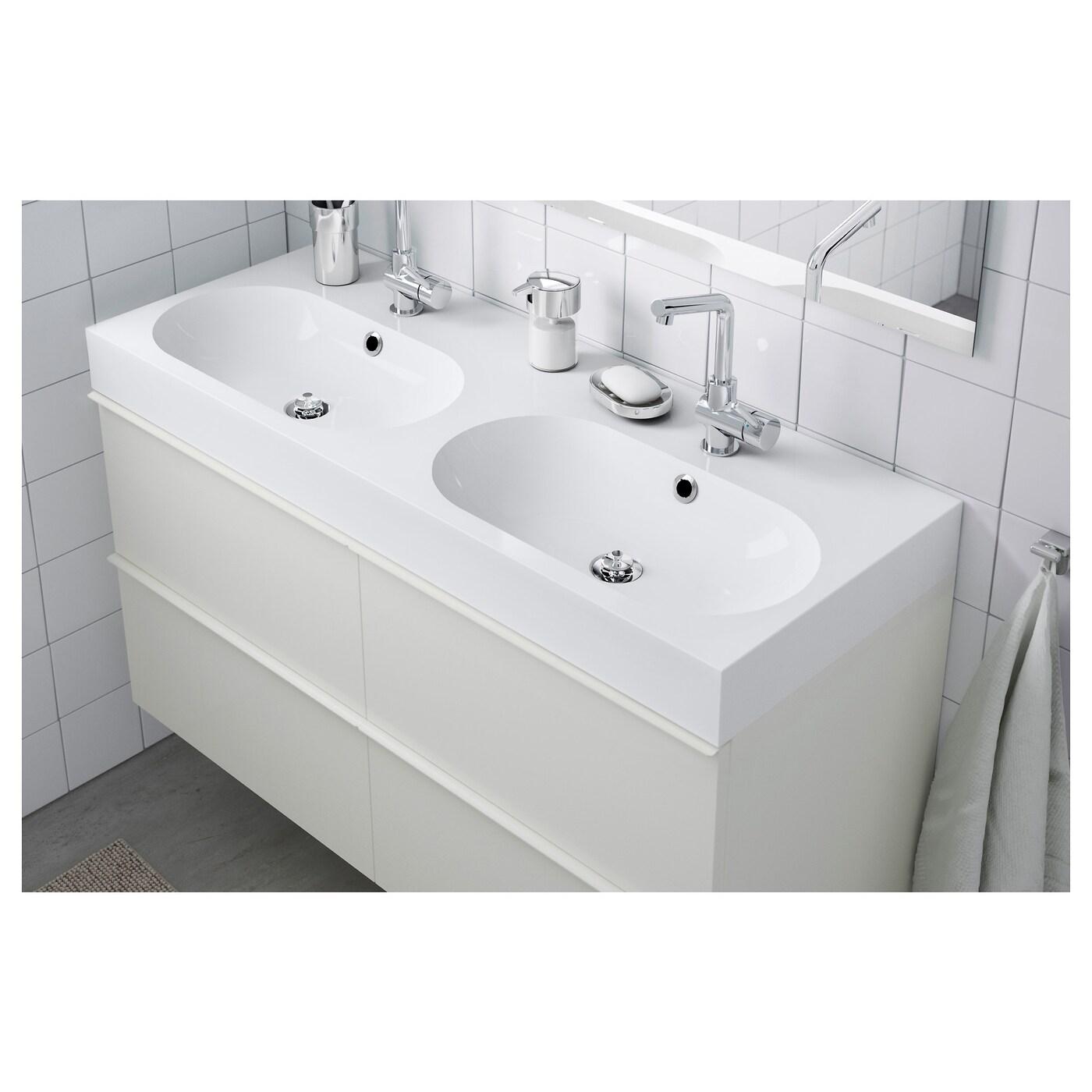 Braviken Double Vasque Blanc 120x48x10 Cm Ikea