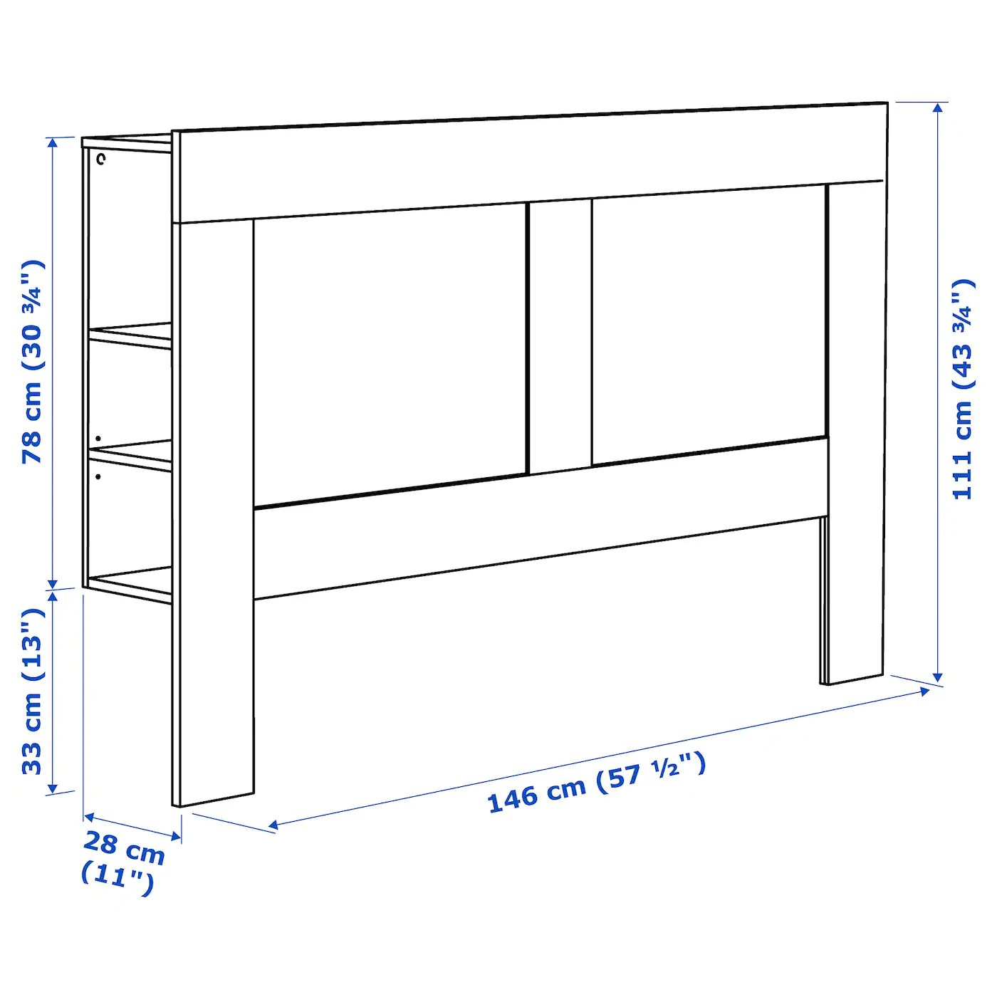 brimnes tete de lit avec rangement blanc 140 cm