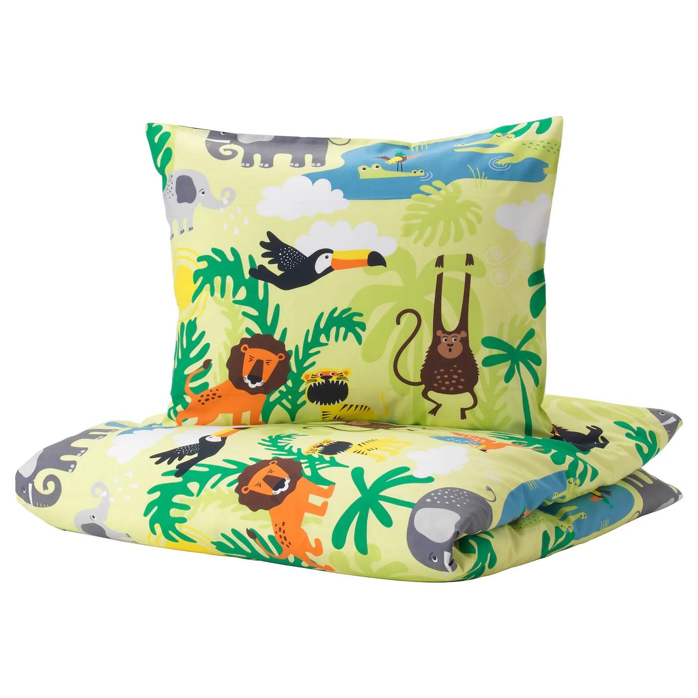 Djungelskog Housse De Couette Et Taie Animal Vert 150x200 65x65 Cm Ikea