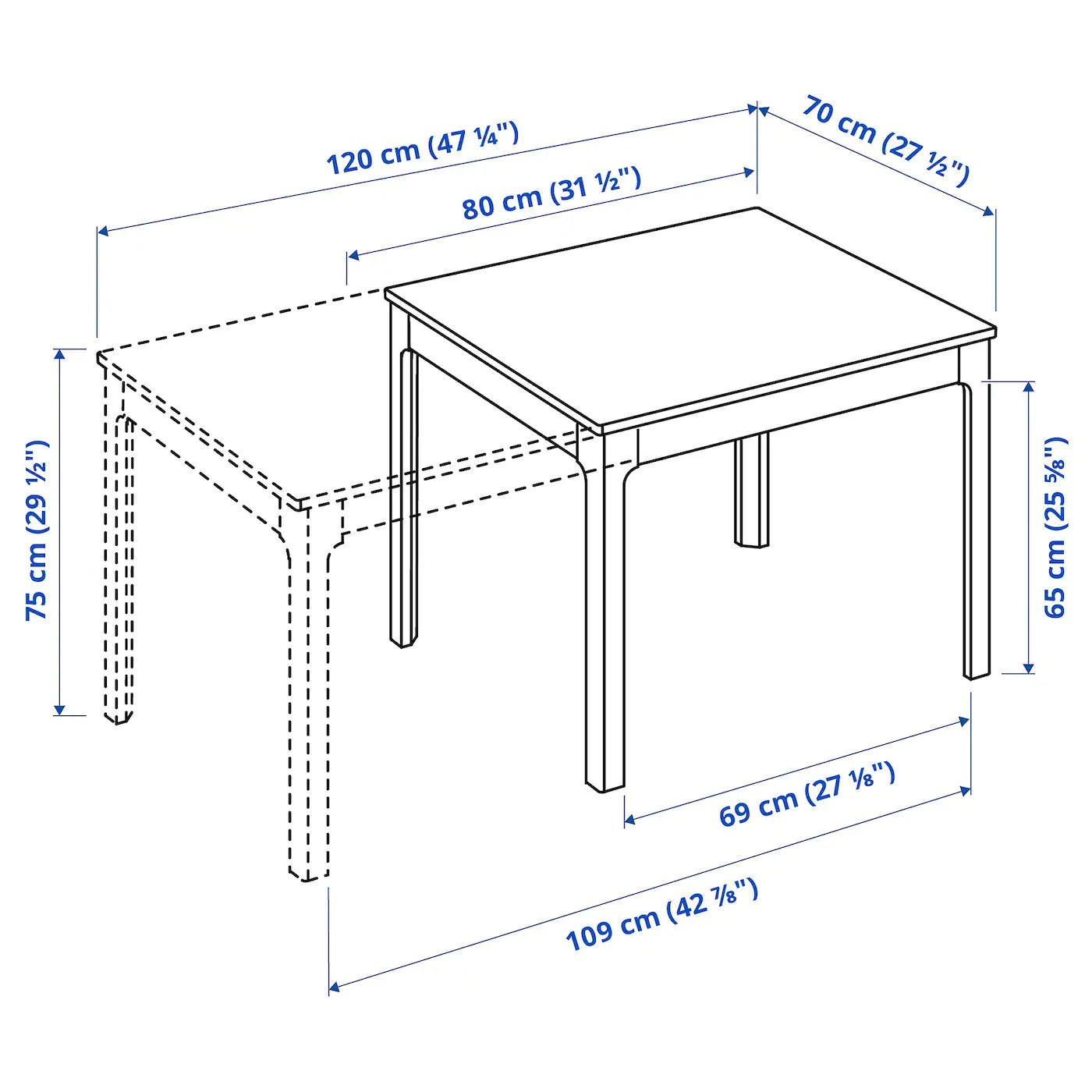 ekedalen table extensible chene 80 120x70 cm