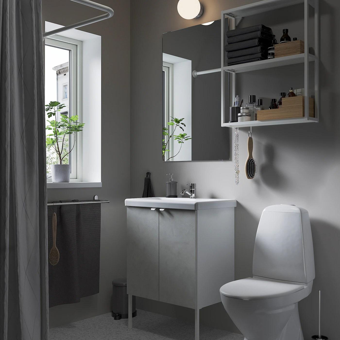 Enhet Tvallen Mobilier Salle De Bain 11 Pieces Imitation Ciment Blanc Pilkan Mitigeur Lavabo Ikea