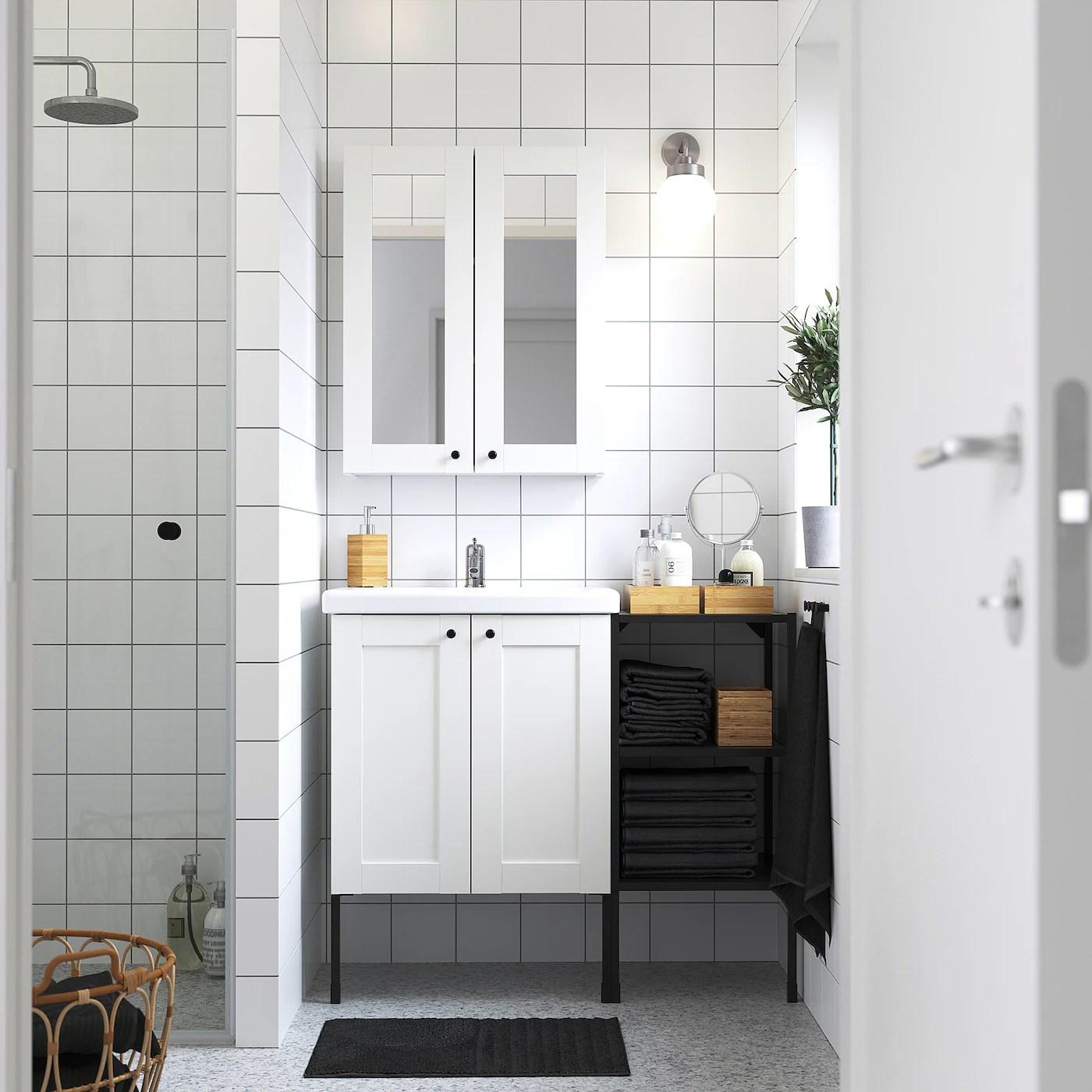 Enhet Tvallen Mobilier Salle De Bain 14 Pieces Blanc Avec Cadre Anthracite Lillsvan Mitigeur Lavabo Ikea