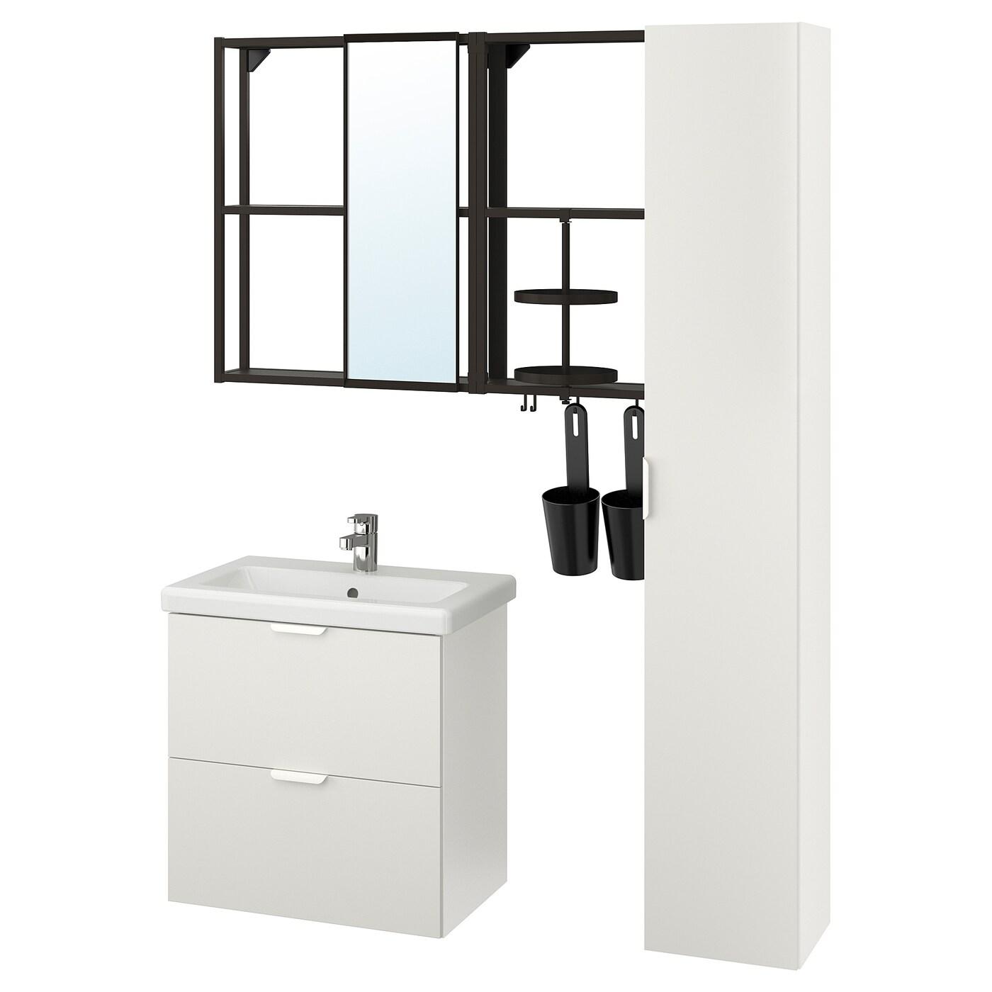Enhet Tvallen Mobilier Salle De Bain 18 Pieces Blanc Anthracite Ensen Mitigeur Lavabo Ikea