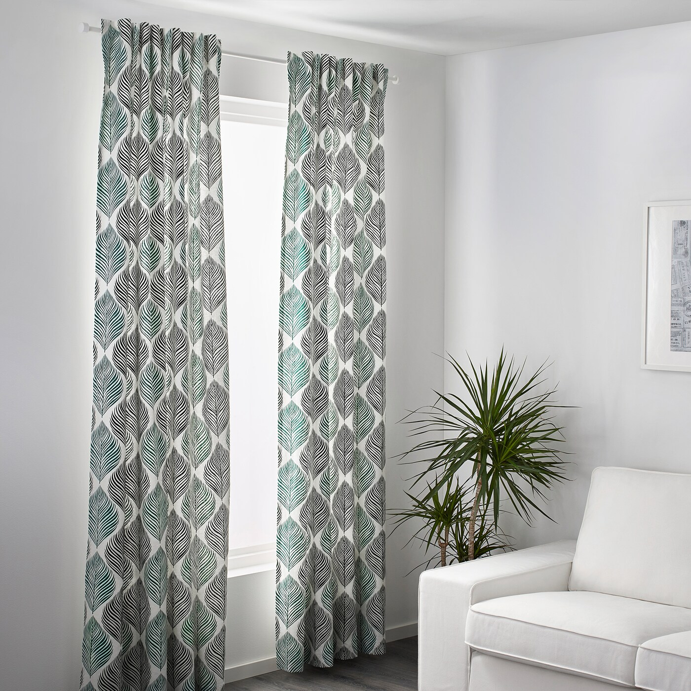 fjaderklint rideaux 2 pieces blanc vert 145x300 cm