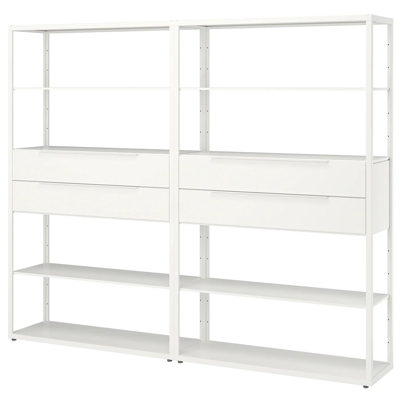 fjalkinge etagere avec tiroirs blanc 236x35x193 cm