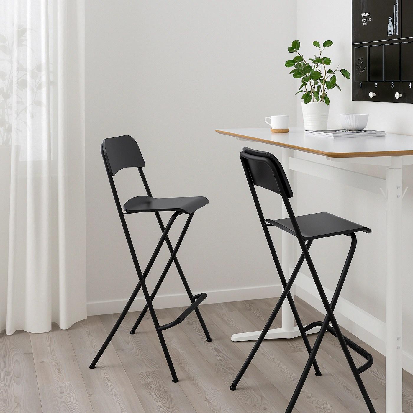 franklin chaise de bar pliante noir noir 74 cm