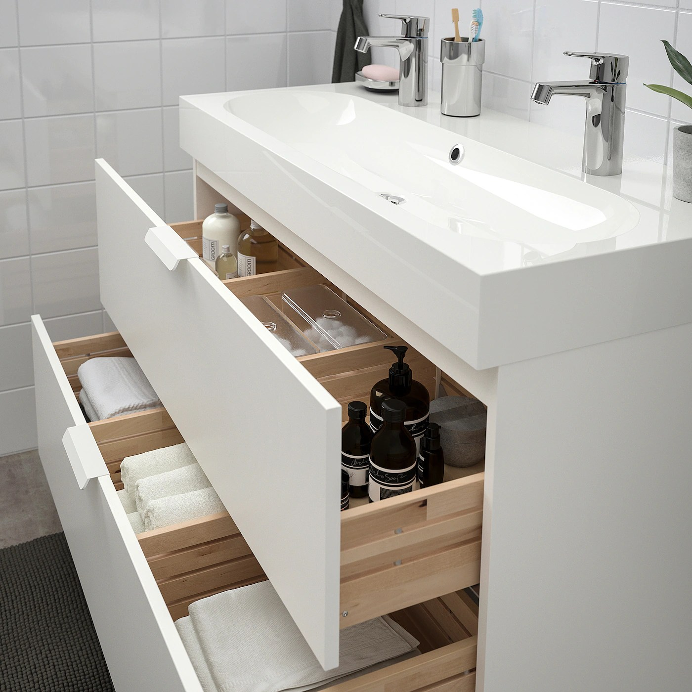 Godmorgon Braviken Meuble Lavabo 2tir Blanc Mitigeur Lavabo Brogrund 100x48x68 Cm Ikea