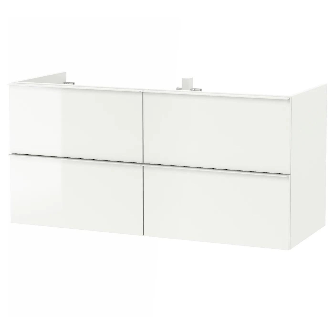 Godmorgon Meuble Lavabo 4tir Brillant Blanc 120x47x58 Cm Ikea