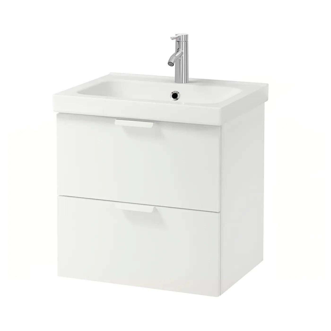 Godmorgon Odensvik Meuble Lavabo 2tir Blanc Dalskar Mitigeur Lavabo 63x49x64 Cm Ikea