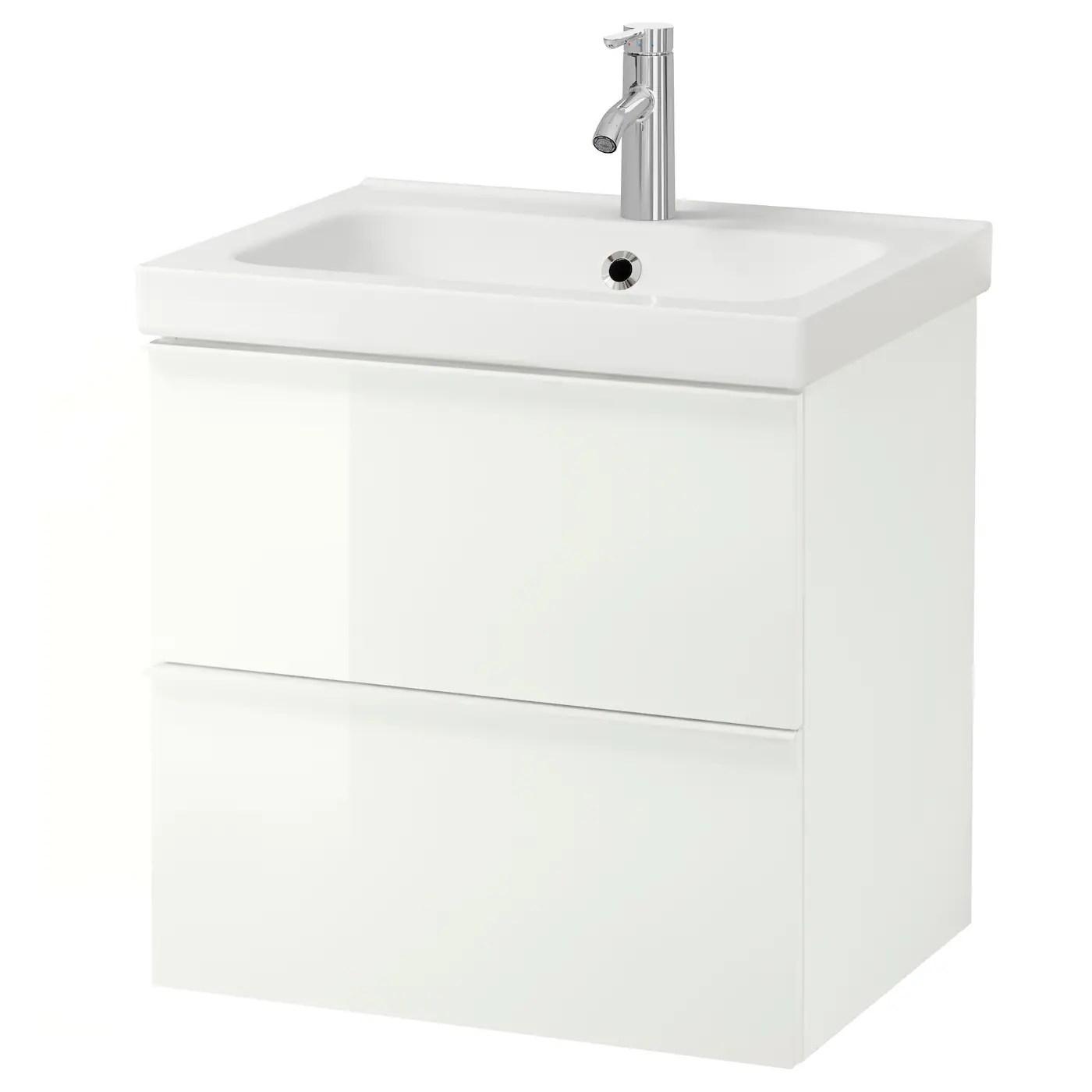 Godmorgon Odensvik Meuble Lavabo 2tir Brillant Blanc Dalskar Mitigeur Lavabo 63x49x64 Cm Ikea