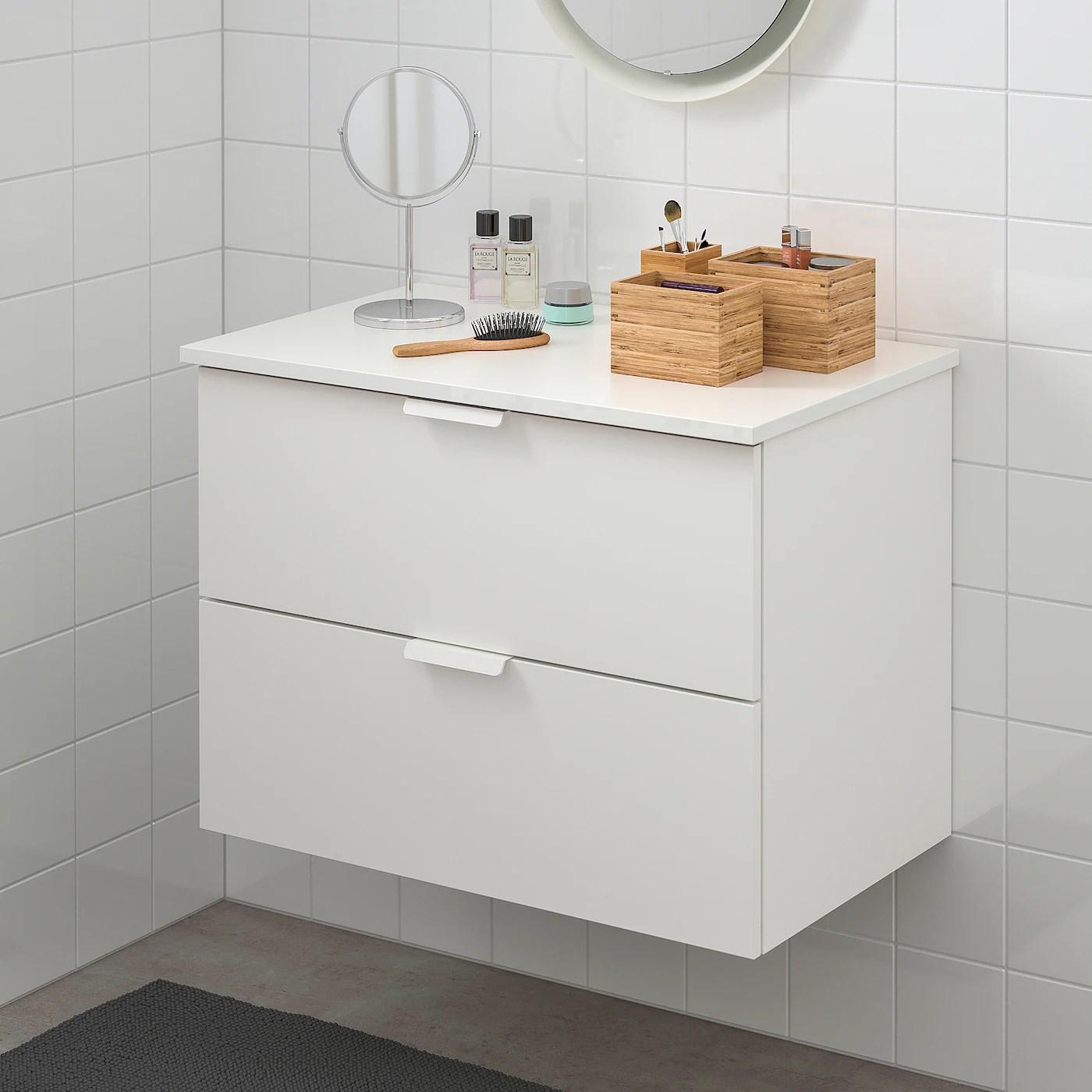 Godmorgon Tolken Meuble Lavabo 2tir Blanc Blanc 82x49x60 Cm Ikea