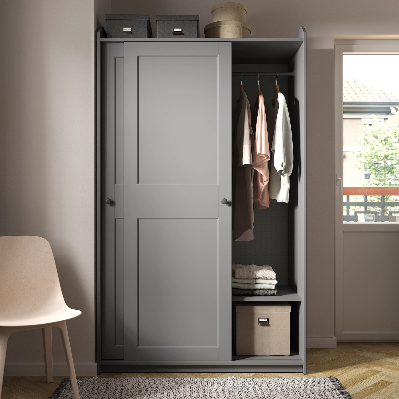 hauga armoire a portes coulissantes gris 118x55x199 cm